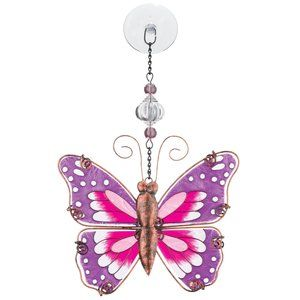 Pink Butterfly Painted Glass in Antique Copper